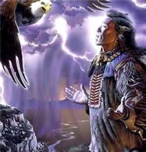 Native American Indian Wolf and Eagle