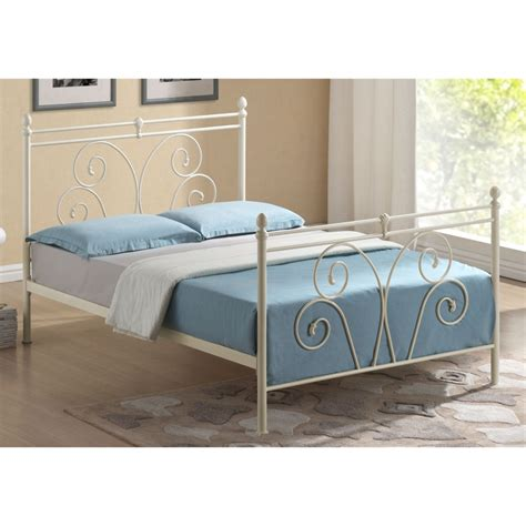flower bud style ivory metal bed frame king size 5ft