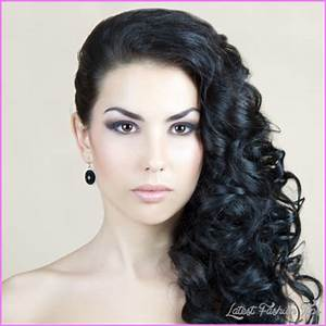 Curly hairstyles pinned to the side - LatestFashionTips.com