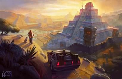 Aztec Future Mayan Fantasy Pyramid Delorean Artwork