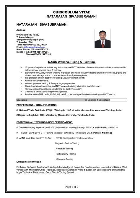 Iti Resume Model by Resume Natarajan Sivasubramani