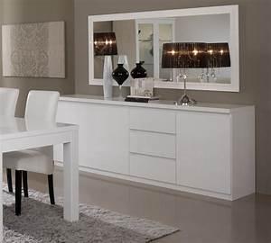 Miroir de salle a manger rectangulaire design laque blanc for Salle À manger contemporaineavec meuble salle a manger laque blanc