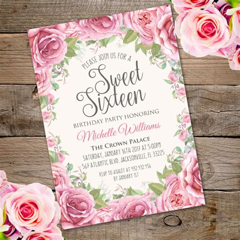 sweet sixteen birthday party invitationparty printables