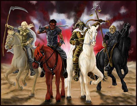horsemen apocalypse four horses dark fantasy horror revelations religion horseman reaper hd wallpapers weapons wallpaperup horse sword knights backgrounds deviantart