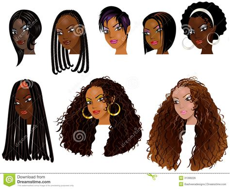 Black Women Faces 2 Stock Vector. Illustration Of Black