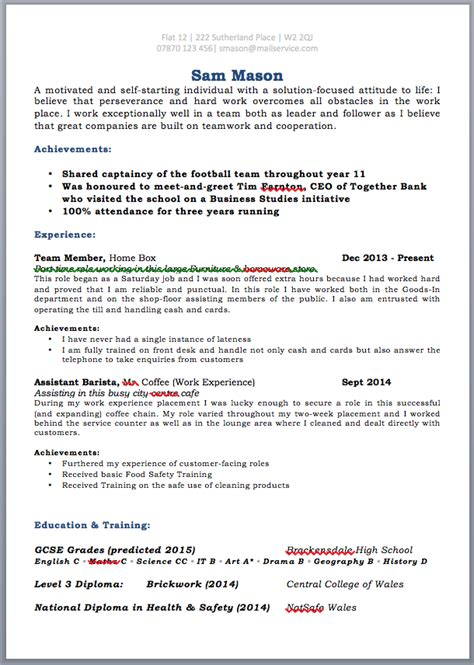 Resume School Leaver by Cv Templates Free For School Leavers Resume Cv Templates Free
