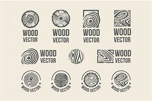 Set of wood rings texture logo ~ Objects ~ Creative Market