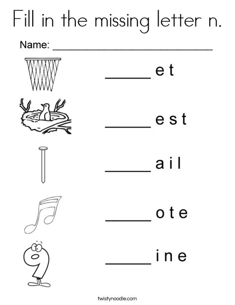 letter n worksheets and coloring pages fill in the missing letter n coloring page twisty noodle