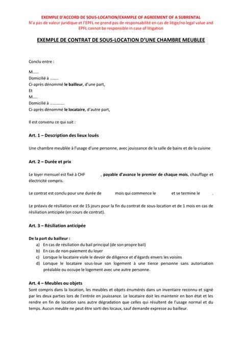 contrat location chambre exemple de contrat de sous location d une chambre