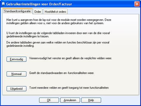 gebruikersinstellingen voor orderfactuur