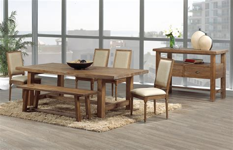 modern rustic oak kitchen table  leather chairs