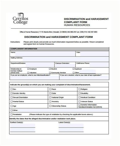 human resource forms and templates sle harassment complaint forms 8 free documents in word pdf