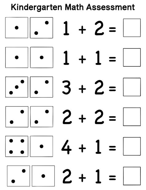 kindergarten assessment math printables