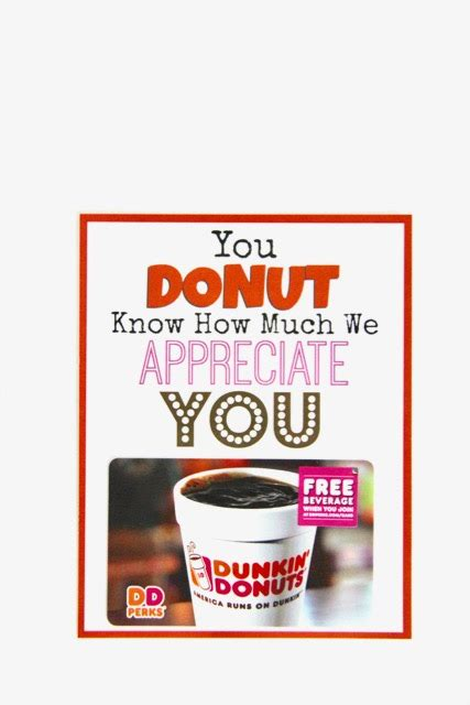 Dunkin' Donuts Thank You Printable