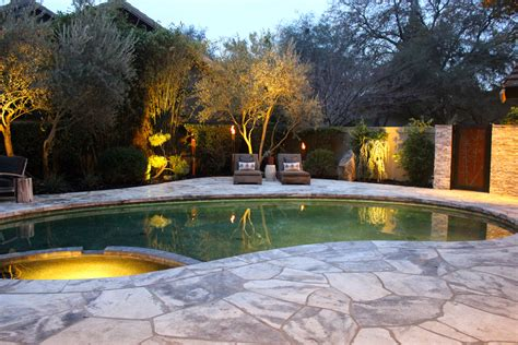 Kitchen Feature Wall Ideas - asian inspired pool backyard environment michael glassman associates