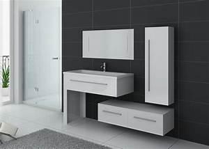 Meuble De Salle : meuble blanc de salle de bain 1 vasque meuble blanc de salle de bain dis9251b ~ Nature-et-papiers.com Idées de Décoration