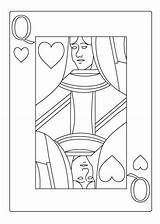 Coloring Queen Sheet Heart Casino Sheets Hearts Playing Drawing Cards Alice Ace Explore sketch template