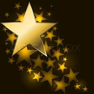 Abstract starry background with golden star shaped label