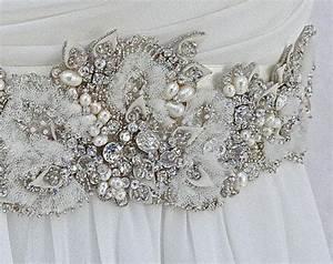Beaded bridal sash wedding sash in ivory with crystals for Wedding dress sashes with crystals