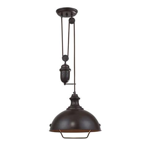 farmhouse pulley pendant light bronze finish 65071 1
