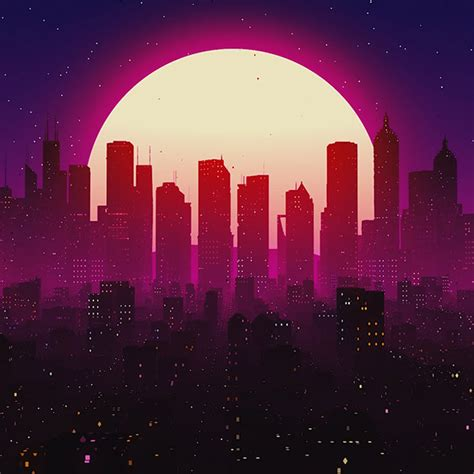 synthwave city wallpaper engine  wallpaper