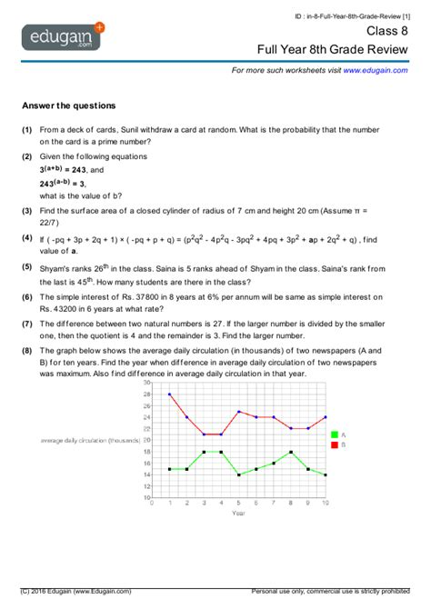 class 8 math worksheets and problems full year 8th grade review edugain india