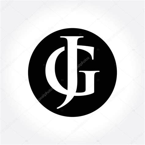 circle monogram letters jg initial letters  circle monogram logo stock vector