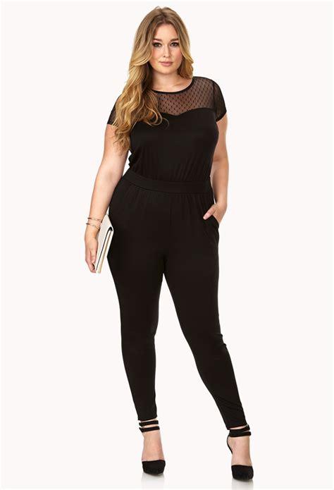 jumpsuit forever 21 forever 21 femme mesh jumpsuit in black lyst