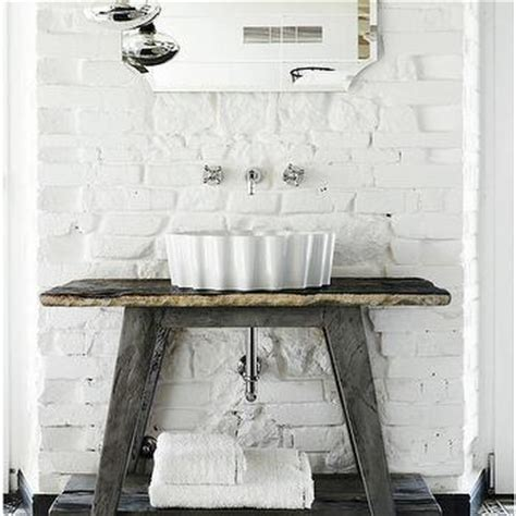 Reclaimed Wood Washstand Eclectic Bathroom Bathroom With White Subway Tiles And Black Grout Modern
