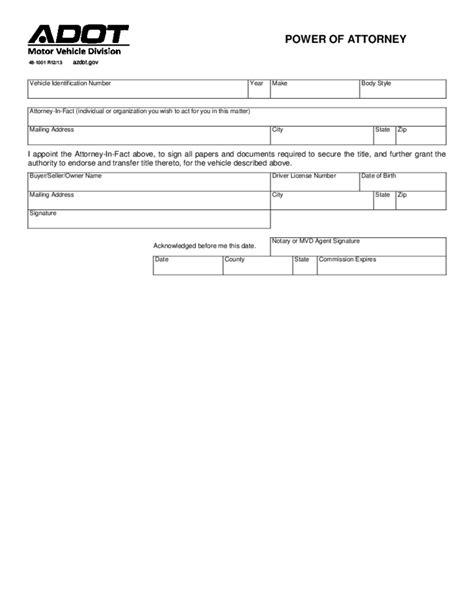 motor vehicle power  attorney arizona