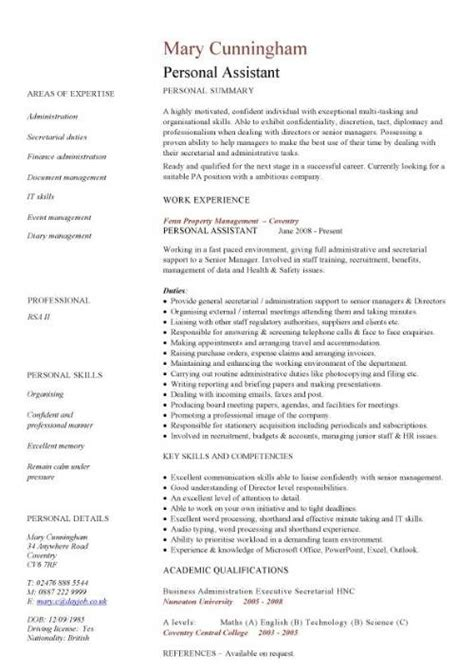 Resume Personal Qualities Sle by Personal Assistant Resume Dc Sales Assistant Lewesmr Personal Assistant Resume Whitneyport