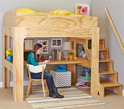 loft bed  desk woodworking plan  wood magazine