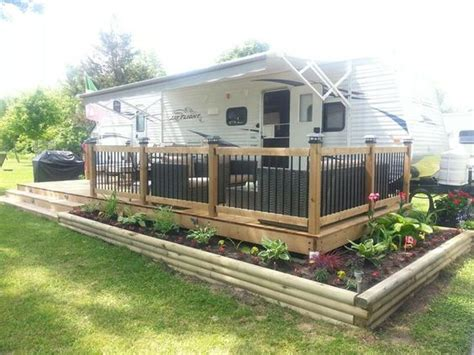 outdoor living decks with parking for trailers