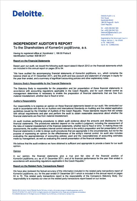 audit report independent auditor s report to the shareholders of komerčn 237 pojišťovna a s annual report
