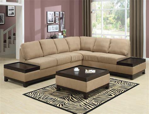 mocha padded suede modern sectional sofa w wood trim