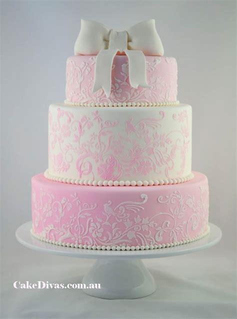 Romantic Pink And White Wedding Cake