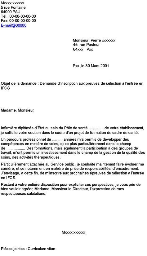 lettre de motivation cadre de sante demande d inscription aux preuves de s 233 lection 224 l entr 233 e en ifcs