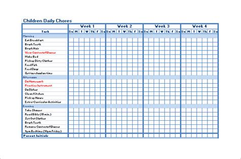 free chore chart template chore chart template 12 free sle exle format free premium templates