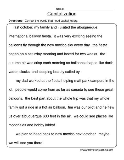resources english capitalization worksheets