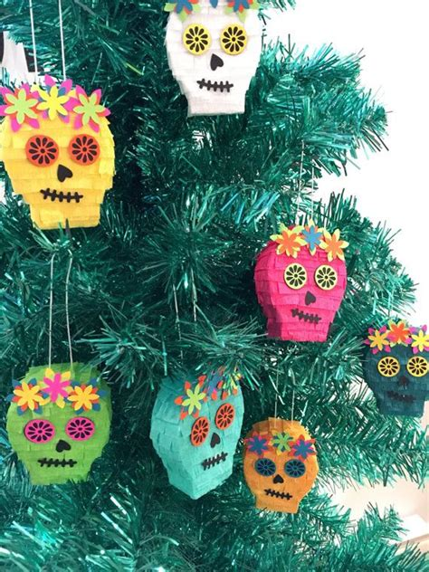 mexican christmas ornaments mini pinata sugar skull tree