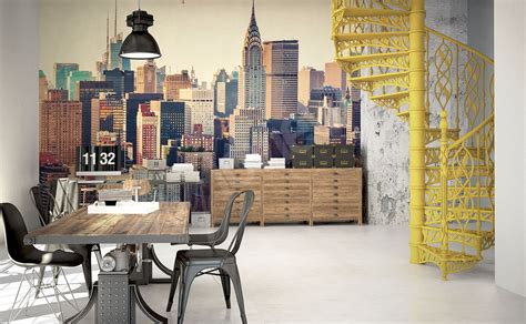 papier peint bureau pc papiers peints bureau mur aux dimensions myloview fr