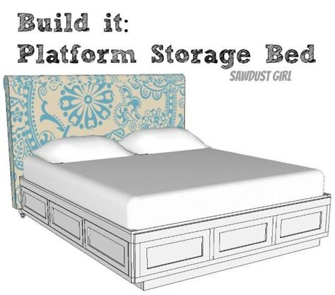 cal king platform storage bed  plans sawdust girl