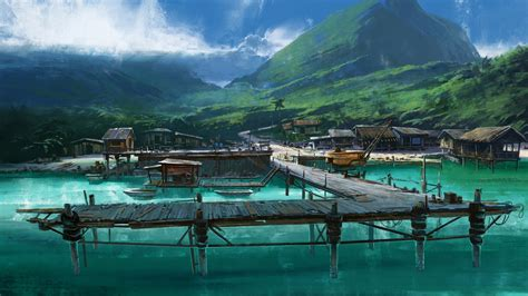 Star Wars High Resolution Wallpaper Mountains Landscapes Sea Dock Tropical Boats Artwork Drawings Wallpapers