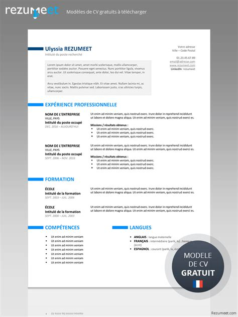 Exemple De Curriculum Vitae Professionnel by Mod 232 Le De Curriculum Vitae Professionnel Lusocarrelage