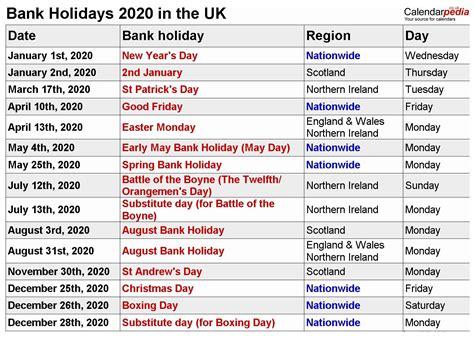 uk bank holidays calendar bank holiday calendar
