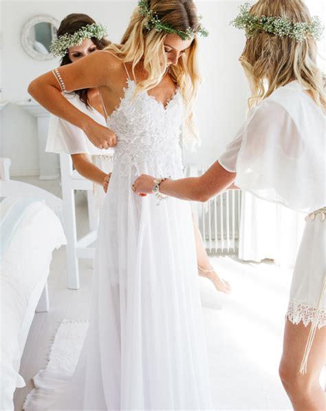 Whiteivory Laceandchiffon Wedding Dresses Long Boho Beach