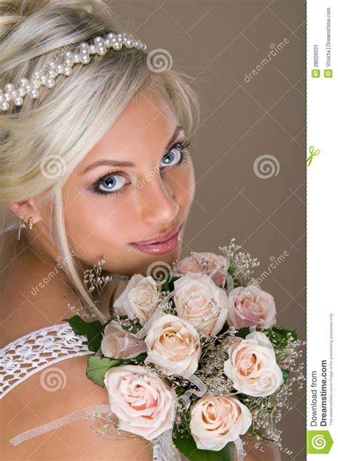 portrait  beautiful blonde bride stock image image