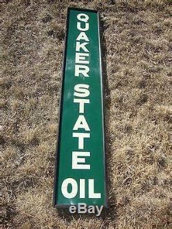 vtg orig   framed quaker state oilgas vertical tin advertising sign