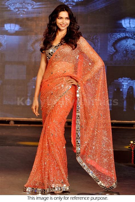 bollywood style deepika padukone net saree  orange color
