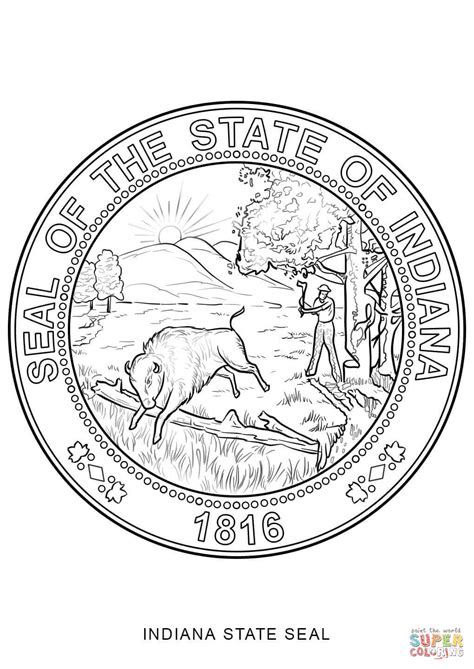 indiana state seal coloring page  printable coloring pages